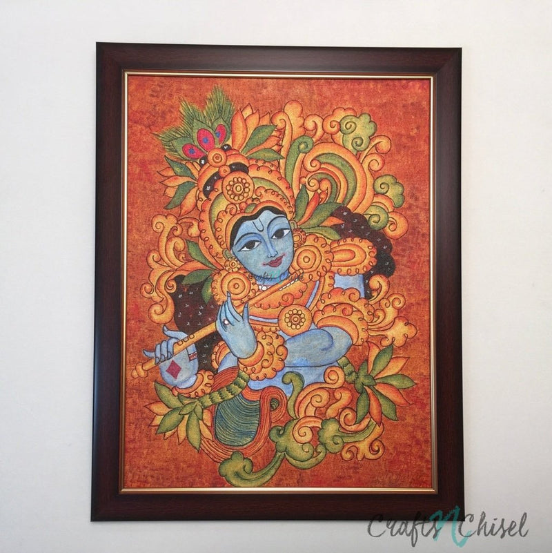 Lord Krishna Kerela Mural-Crafts N Chisel India - Indian home decor - India