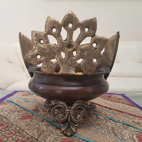Decorative Brass Peacock Urli-Crafts N Chisel India - Indian home decor - India