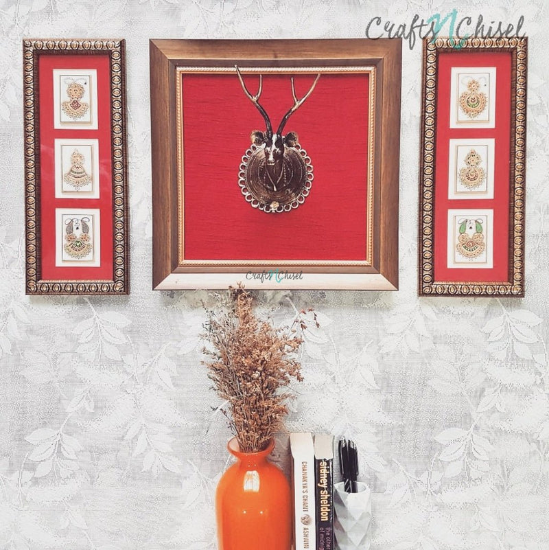 Dhokra Deer & Jewelry Painting - Fusion Wall Decor-Crafts N Chisel India - Indian home decor - India