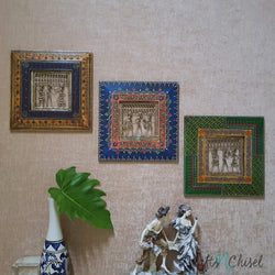 "Dhokra Rajasthani 11"" Wall Hanging (Set of 3) - Wall Decor - Home Decor-Crafts N Chisel India - Indian home decor - India"