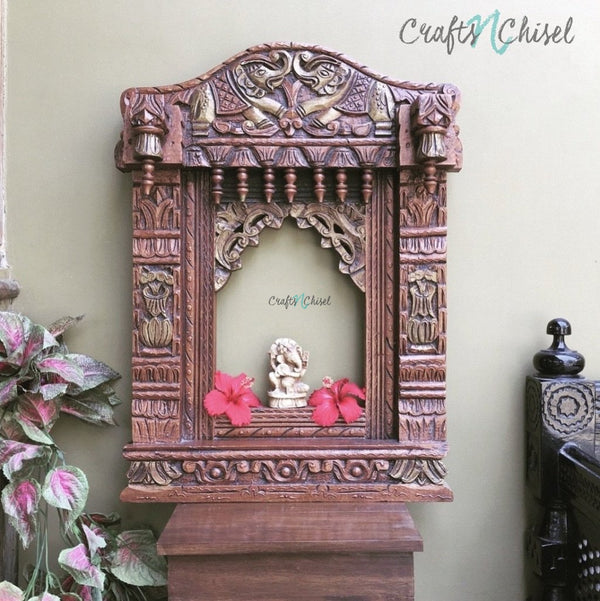 Decorative Wooden Elephant Jharoka - Wall Decor-Crafts N Chisel India - Indian home decor - India