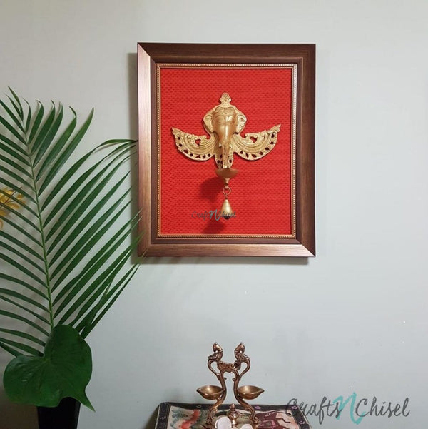 Yali Lord Ganesh Hanging Diya & Bell - Brass Wall Hanging - Decorative and Religious-Crafts N Chisel India - Indian home decor - India