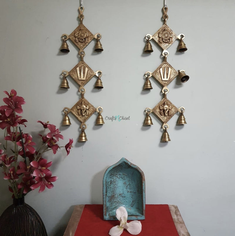 Shanku Namah Chakra Brass Bell (Set of 2)-Crafts N Chisel India - Indian home decor - India
