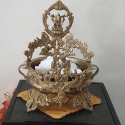 Decorative Brass Urli - Lord Ganesha With Peacock-Crafts N Chisel India - Indian home decor - India