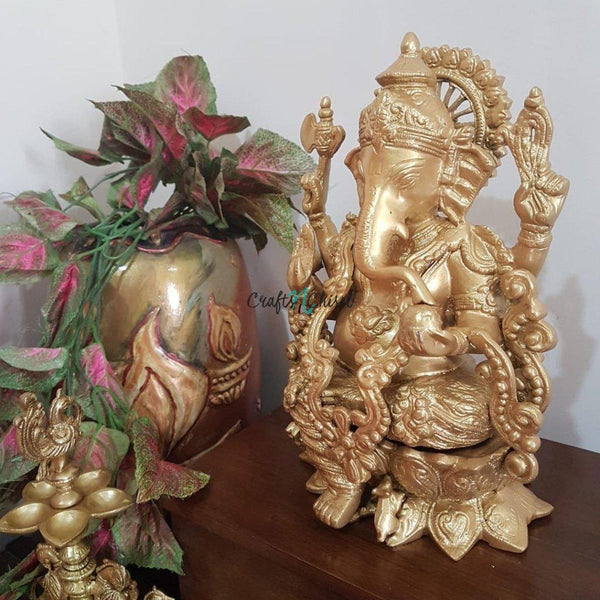 Lord Ganesh Brass Idol & Peacock Diya - Decorative Figurine-Crafts N Chisel India - Indian home decor - India