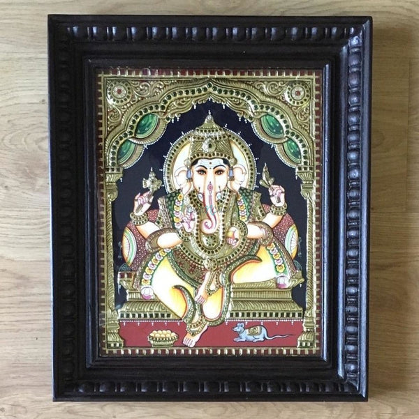 Lord Ganesha Tanjore Painting - Traditional Wall Art-Crafts N Chisel India - Indian home decor - India