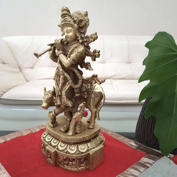 "12"" Lord Krishna & Cow idol - Brass Statue-Crafts N Chisel India - Indian home decor - India"