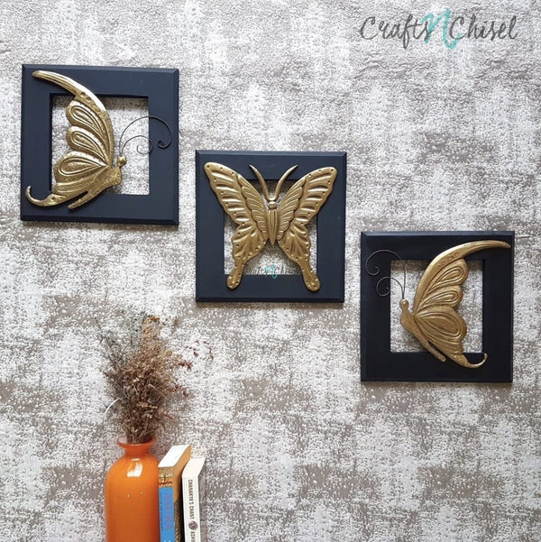 Butterfly Wall Hanging (Set of 3)-Crafts N Chisel India - Indian home decor - India
