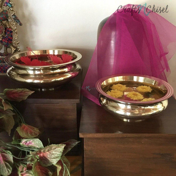 Decorative Brass Urli (Set of 2)-Crafts N Chisel India - Indian home decor - India