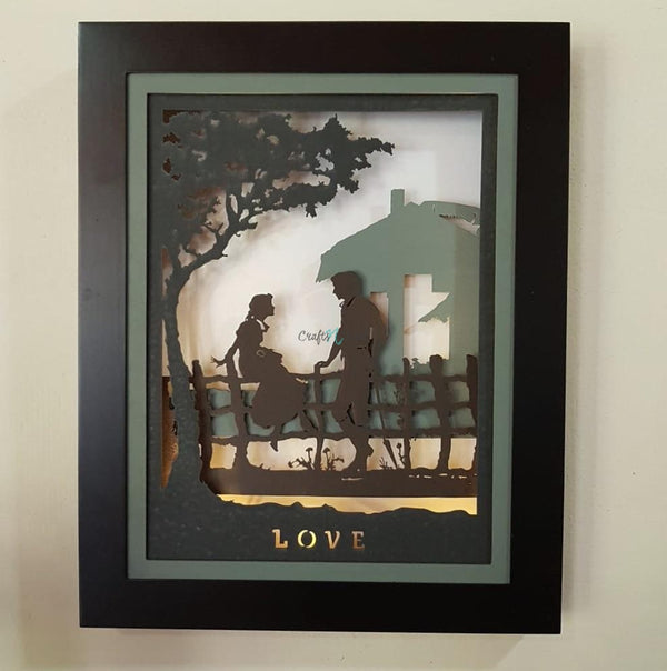 Decorative Wooden Multilayer Designer Frame - Romantic Couple - Wall Decor-Crafts N Chisel India - Indian home decor - India