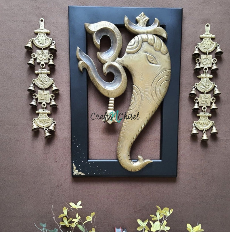 "24"" Om Ganesha Wall Hanging with Bells (Set of 3) - Wall Decor-Crafts N Chisel-Indian Handicrafts Online USA"