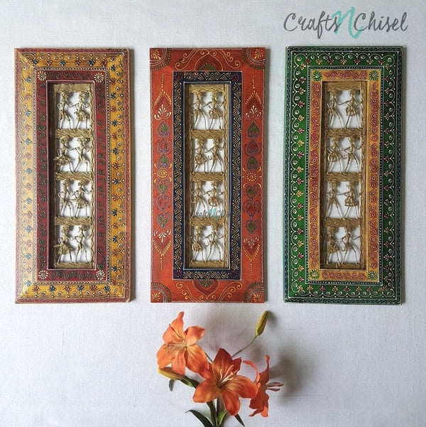 "Dhokra Rajasthani Photo Frame 20"" (Set of 3) - Wall Hanging - Wall Decor - Home Decor-Crafts N Chisel India - Indian home decor - India"