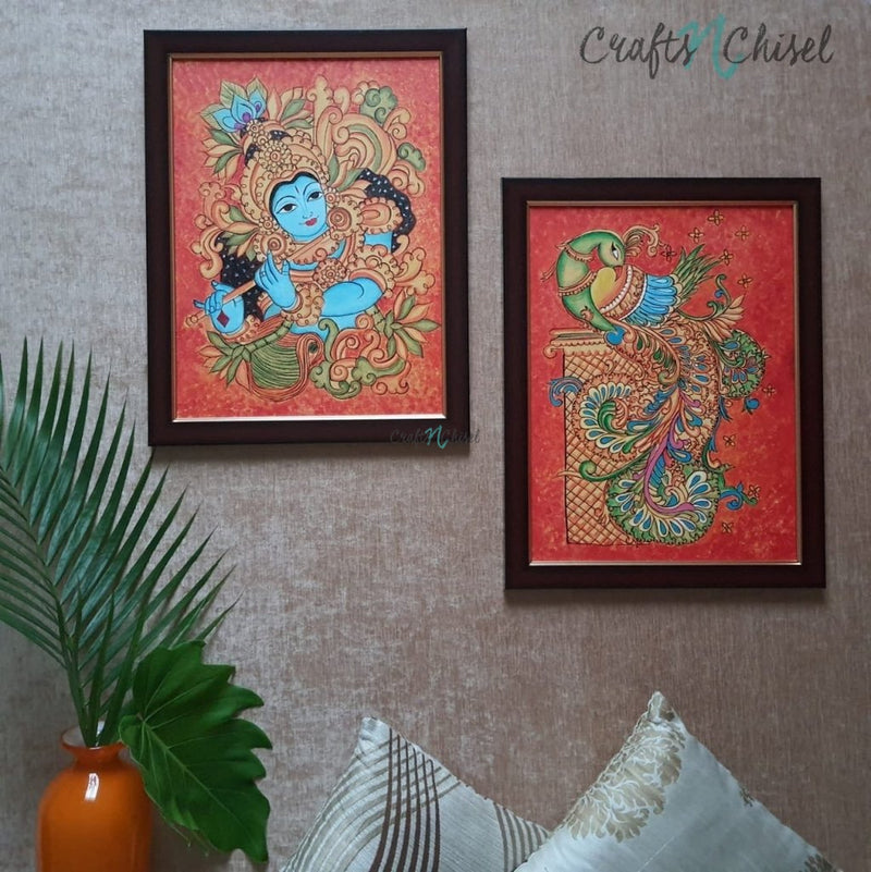 Krishna & Parrot Kerala Mural (Set of 2) - Handpainted Wall Decor-Crafts N Chisel India - Indian home decor - India