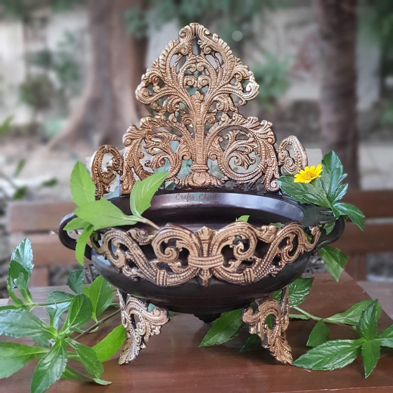 "11"" Decorative Brass Urli - Copper Finish-Crafts N Chisel India - Indian home decor - India"