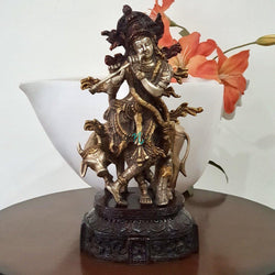 "12"" Lord Krishna & Cow idol - Brass Lacquer Finish-Crafts N Chisel India - Indian home decor - India"