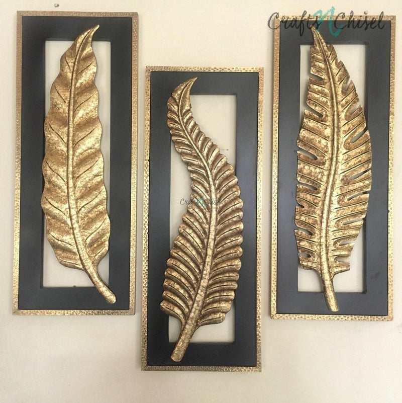 "30"" Brass Leaf Wall Hanging (Set of 3)-Crafts N Chisel India - Indian home decor - India"