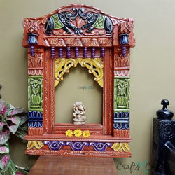 Orange combo - Decorative Wooden Elephant Jharoka - Wall Decor-Crafts N Chisel India - Indian home decor - India