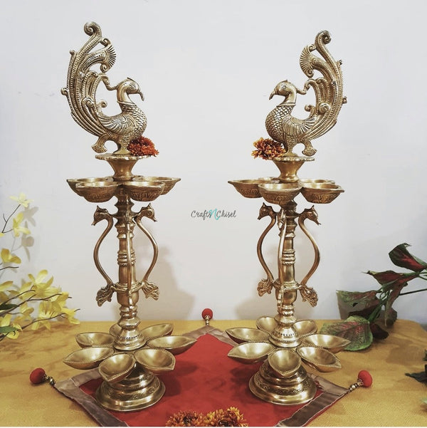 "20"" Handmade Standing Brass Diya Lamp (Set of 2) - Antique finish-Crafts N Chisel India - Indian home decor - India"