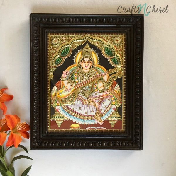 Goddess Saraswati Tanjore Painting - Traditional Wall Art-Crafts N Chisel India - Indian home decor - India