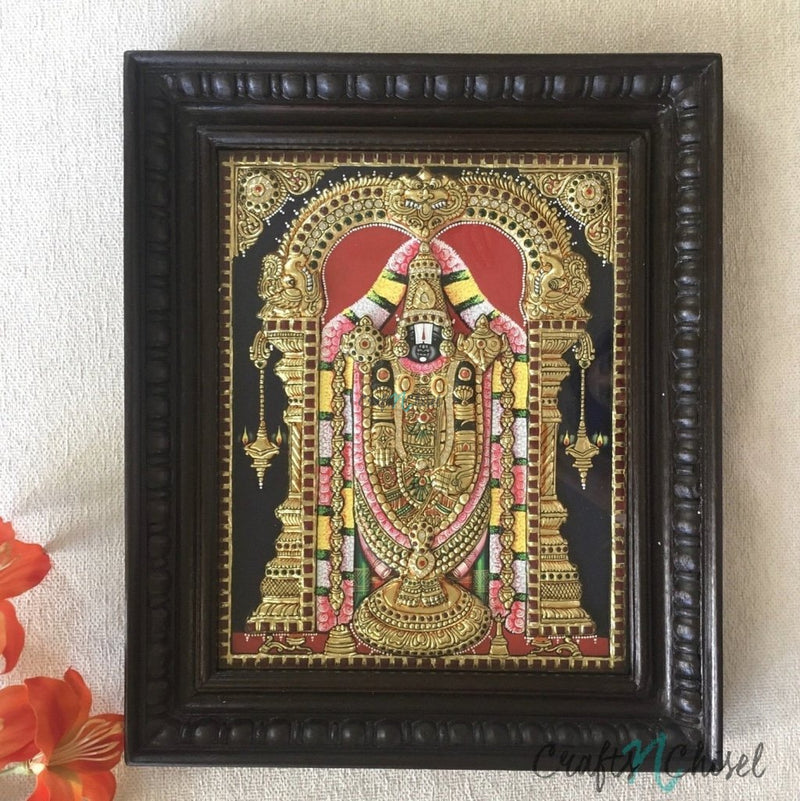Lord Tirupati Balaji - Venkateshwara Tanjore Painting - Tradtional Wall Art-Crafts N Chisel India - Indian home decor - India