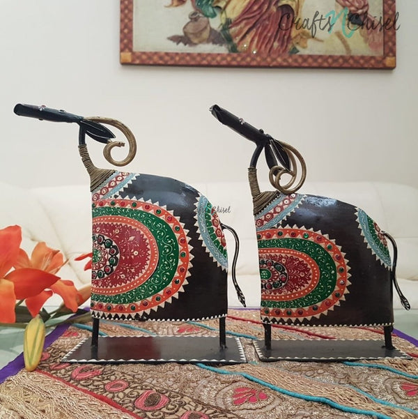 Handcrafted Decorative Metallic Bull (Set of 2)-Crafts N Chisel India - Indian home decor - India