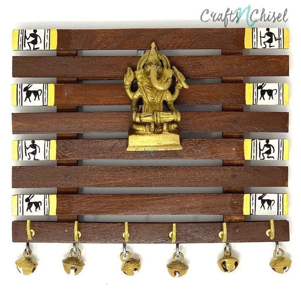 Brass Ganesha & Warli Hand-Painted Key Holder On Wood (6 Hooks) - Wall Decor-Crafts N Chisel India - Indian home decor - India