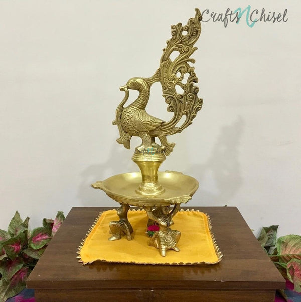 "15"" Dancing Peacock Diya with beautiful lady figurines - Handmade Brass lamp - Decorative-Crafts N Chisel India - Indian home decor - India"