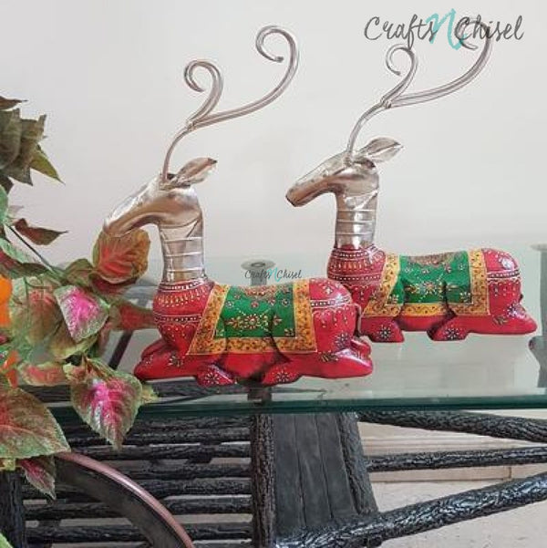 Decorative Wooden Metallic Deer (set of 2)-Crafts N Chisel India - Indian home decor - India