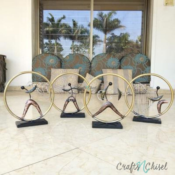 Metallic Musician Ring Decorative (set of 4) - Table Decor-Crafts N Chisel India - Indian home decor - India