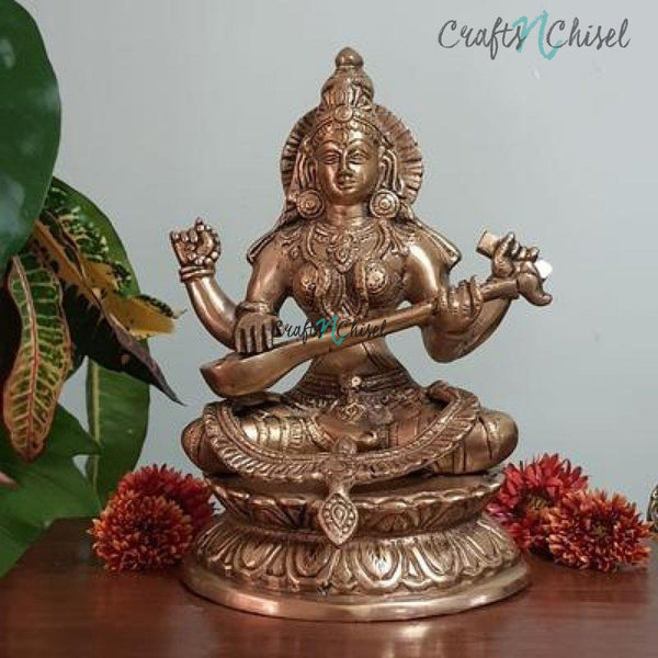 Goddess Saraswati Brass Idol - Decorative Figurine-Crafts N Chisel India - Indian home decor - India