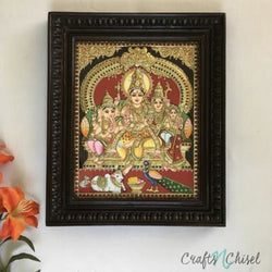 Shiv Parivar Tanjore Painting - Traditional Wall Art-Crafts N Chisel India - Indian home decor - India