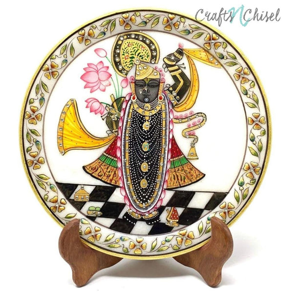 Handcrafted Gold Leaf Marble Round Plate - Decorative - Lord Shrinathji-Crafts N Chisel India - Indian home decor - India