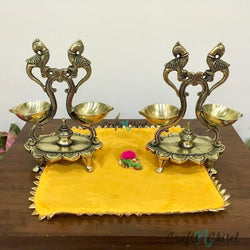 Twin Peacock Double Diya Lamp (Set of 2) - Handmade Brass lamp - Decorative-Crafts N Chisel India - Indian home decor - India