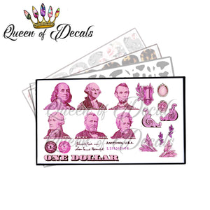 US Dollar bill elements PINK