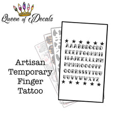 Load image into Gallery viewer, Artisan Hand & Finger Tattoos - RETRO FONT & Stars