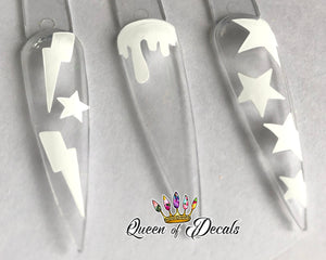 Neon/day glow 'BOLTS & STARS' vinyl nail art stickers