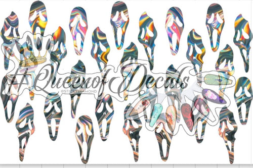 Silver Holographic Scream mask  Decals
