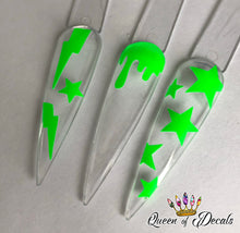 Load image into Gallery viewer, Neon/day glow 'BOLTS & STARS' vinyl nail art stickers