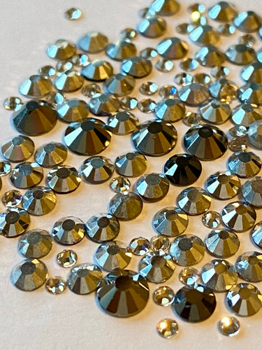 Crystal & Steel Mix Nail Gems (mixed sizes x150)