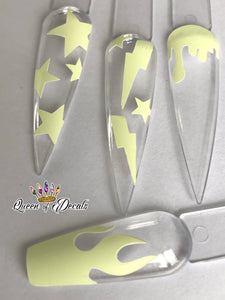 Summer Pastel 'BOLTS & STARS' vinyl nail art stickers