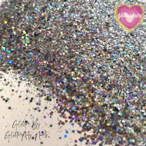 HOLOGRAPHIC GREY MULTI MIX NAIL GLITTER 5G BAG