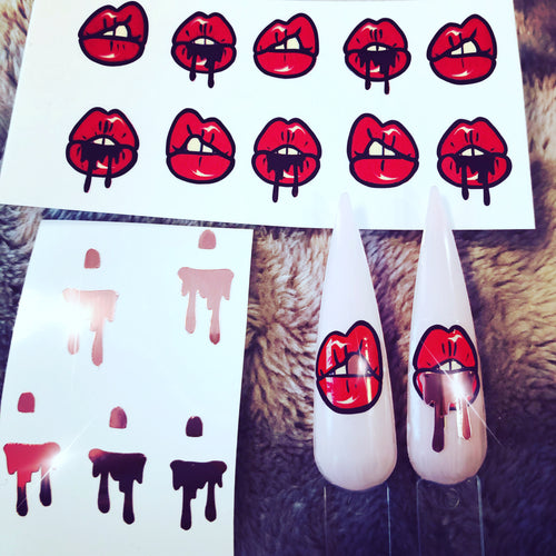 SASSY LIP KIT lips nail art decal with rose gold vinyl lips drips and teeth stickers