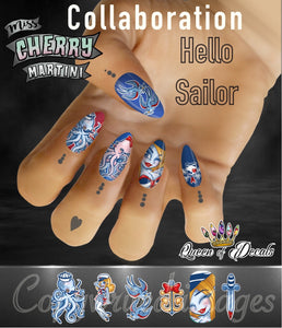 OFFICIAL Miss Cherry Martini/Queen of decals collaboration 'HELLO SAILOR'