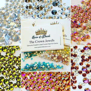 Aqua Crystal Nail Gems (mixed sizes x145)