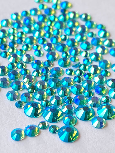 Aqua AB Crystal Nail Gems (mixed sizes x145)