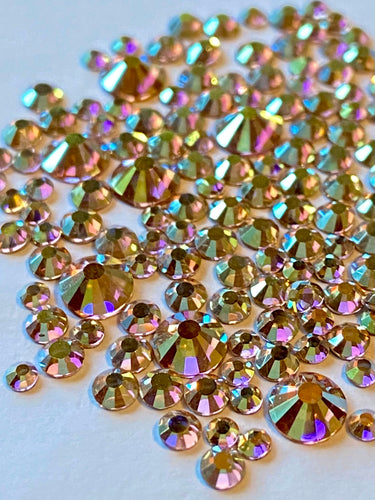 Gold AB Crystal Nail Gems (mixed sizes x145)