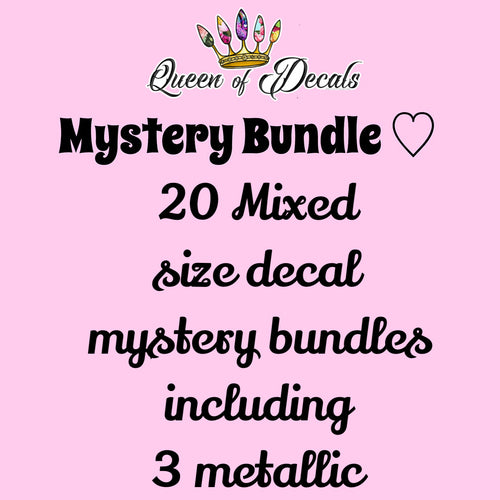 20 Decal MYSTERY BUNDLE Mixed sizes including 3 metallics