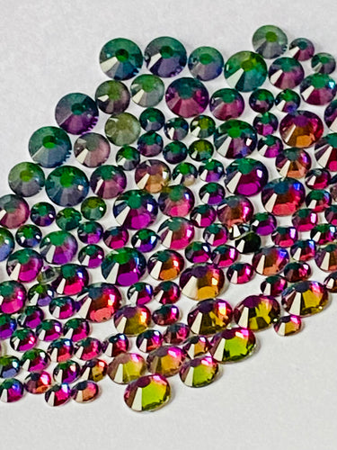 Colour Shifting Green/Purple/Gold Crystal Nail Gems (mixed sizes x140)
