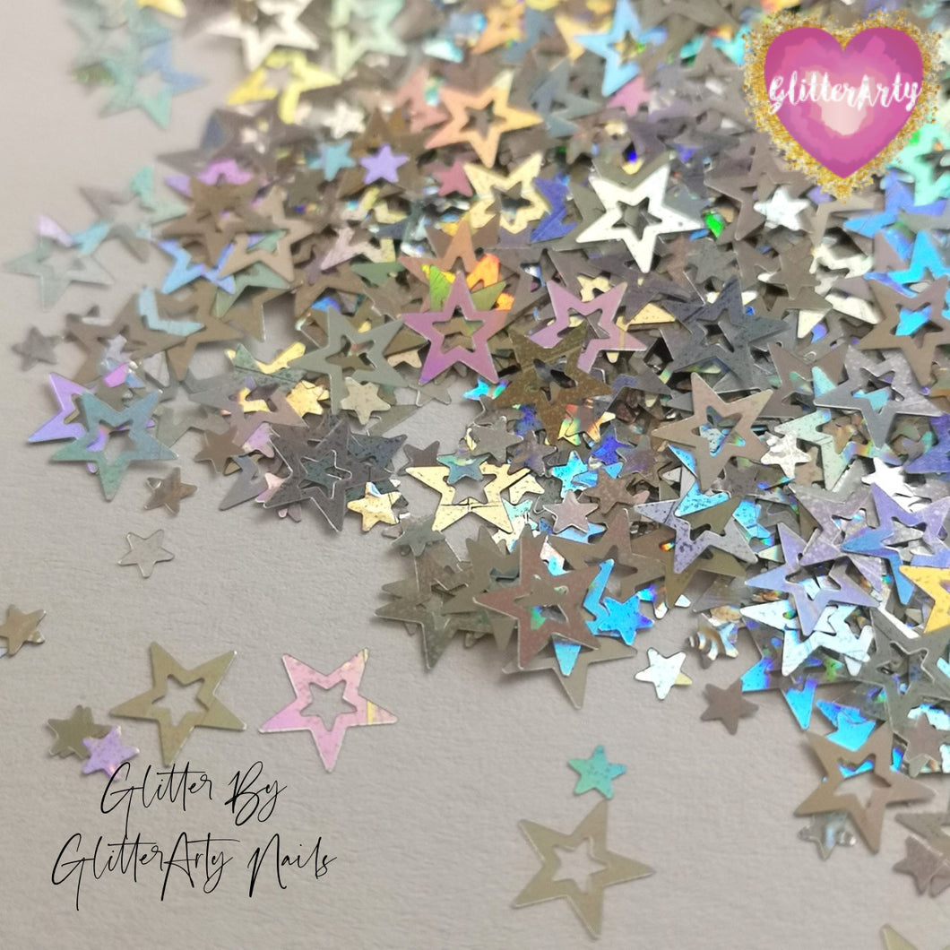 HOLLOW HOLOGRAPHIC SILVER STARS 5ML