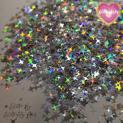 4 SIDED GALAXY STARS - HOLOGRAPHIC SILVER ** 5ML